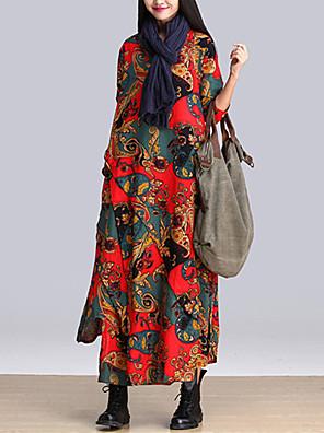 סתיו כותנה כחול / אדום / אפור / צהוב שרוול ארוך מקסי צווארון עגול דפוס בוהו יום יומי\קז'ואל שמלה משוחרר נשים,גיזרה בינונית (אמצע)