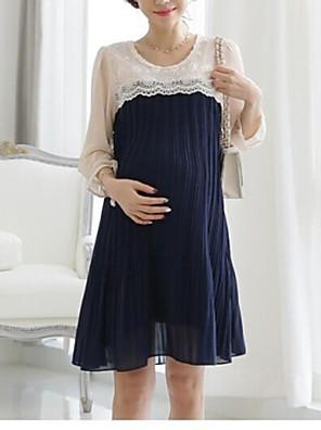 Zwangerschap Schattig Jurk Driekwart mouw Blauw / Rood Inelastisch Dun