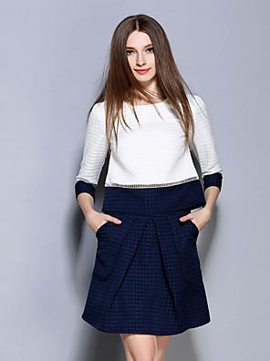 3/4 ærmelængde Rund hals Medium Dame Hvid Farveblok / Jacquard Forår Simpel Formelle Sæt Skjørte Suits,Polyester
