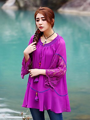 Our Story Going out Sophisticated Spring / Fall BlouseEmbroidered Round Neck  Sleeve Purple Polyester Medium