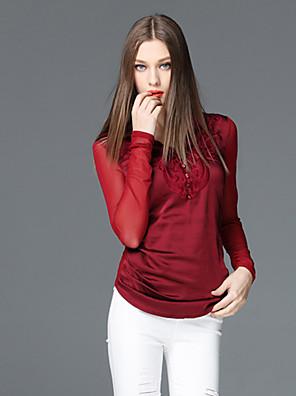 frmz vrouwen uitgaan geavanceerde lente / herfst t-shirtsolid V-hals met lange mouwen zwart polyester medium