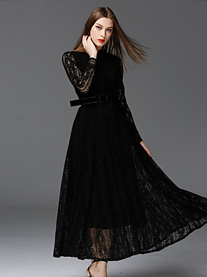 FRMZ  Women's Work Vintage DressSolid Stand Maxi Long Sleeve Black Cotton / Polyester / Nylon