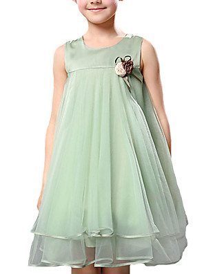 Menina de Vestido,Casual Cor Única Poliéster Verão Verde / Violeta