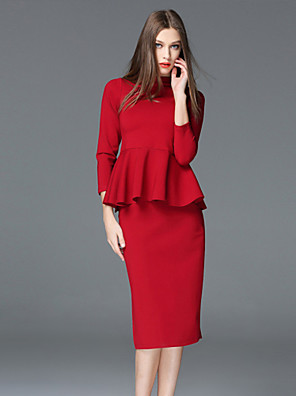 Munka Egyszerű Terített nyak-Női Póló Szoknya Ruhák,Egyszínű Nyári ¾-es ujjú Piros Poliészter / Spandex Közepes vastagságú
