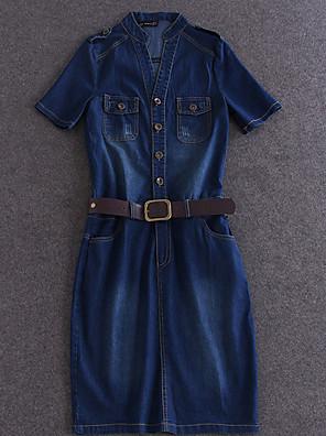 Dames Uitgaan Eenvoudig Schede Jurk Effen-Overhemdkraag Boven de knie Korte mouw Blauw Katoen Zomer Medium taille Micro-elastisch Medium