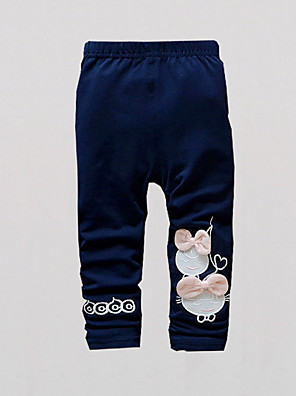 FanXingBeiYiGirl's Casual/Daily Solid Pants / Leggings,Cotton / Polyester Spring / Fall Blue / Pink