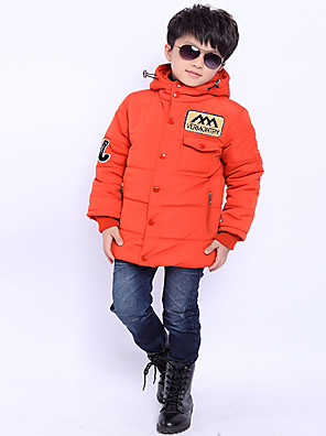 Boy's Casual/Daily Solid Down & Cotton PaddedPolyester Winter Black / Green / Orange