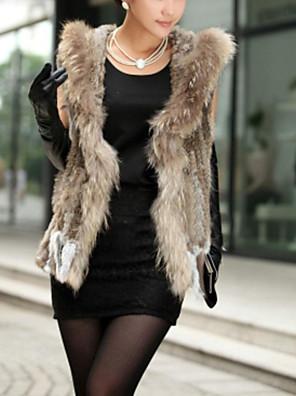 dámská autentické pletené králík srst vesta s mýval kožešinovým límcem s kapucí