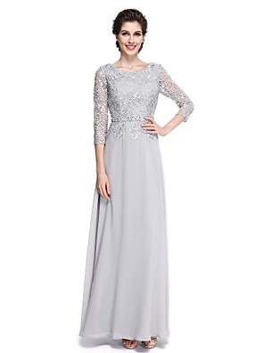 2017 Lanting mãe bainha / coluna bride® do vestido de noiva - elegante tornozelos 3/4 comprimento chiffon luva / rendas