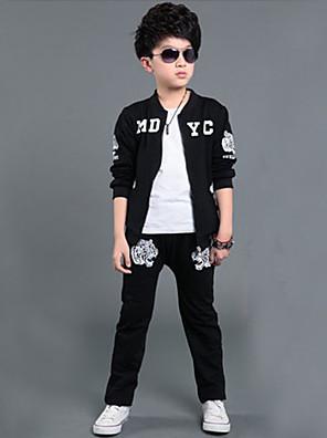 Boy's Sports Print Clothing SetCotton Winter / Fall Black / Gray
