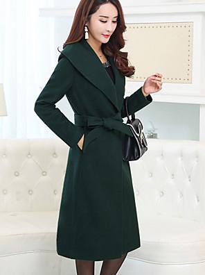 Dámské Jednobarevné Velké velikosti Jednoduché Kabát-Vlna / Polyester Podzim / Zima Klasické klopy Dlouhý rukáv Zelená Tlusté