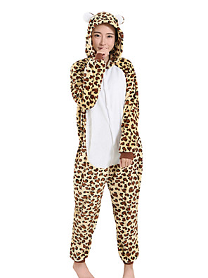 Kigurumi Pijamas Leopardo Festival/Celebração Pijamas Animal Amarelo Leopardo Mink Velvet Kigurumi Para Unisexo / Feminino / MasculinoDia