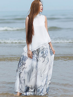 Dámské Čínské vzory Široké nohavice Podšívka / Jiné Neelastické Kalhoty