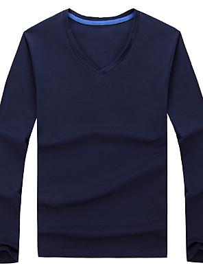 Men's Korean V-Neck Solid Casual / Work Slim T-Shirt Cotton / Spandex Long Sleeve-Black / Blue / Red / White / Gray
