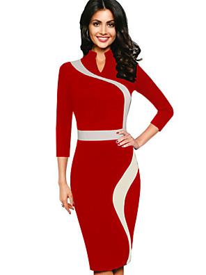 Feminino Bainha Vestido,Casual Sensual / Simples Color Block Decote Redondo Longo Manga ¾ Azul / Vermelho / Preto / Verde / Roxo Poliéster
