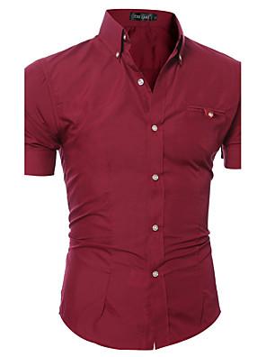 Masculino Camisa Casual / Escritório / Formal Cor Solida Manga Curta Algodão / PoliésterPreto / Azul / Marrom / Rosa / Roxo / Vermelho /