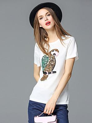 Dames Eenvoudig Zomer T-shirt,Casual/Dagelijks Effen Ronde hals Korte mouw Wit Katoen / Spandex Ondoorzichtig