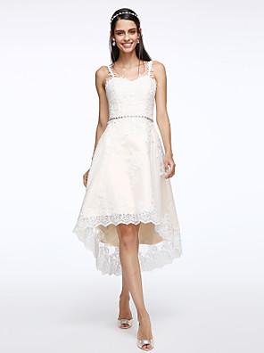 Lanting Bride® A-Linie Svatební šaty Asymetrické Popruhy Tyl s Aplikace / Křišťál