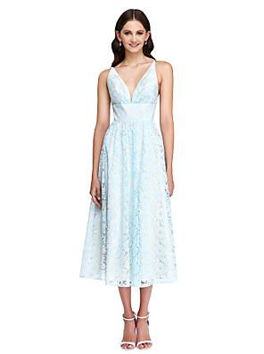 Longuette Renda Vestido de Madrinha - Costas Lindas Linha A Decote V com Faixa / Fita