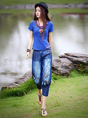 מיקרו-אלסטי - ג'ינסים - מכנסי נשים(כותנה / ספנדקס)