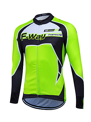Fastcute® חולצת ג'רסי לרכיבה לגברים שרוול ארוך אופניים שמור על חום הגוף / עמיד צמרות גיזות קלאסי חורף רכיבה על אופניים/אופנייים