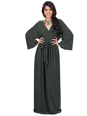 קיץ / סתיו פוליאסטר כחול / לבן / בז' / שחור / ירוק שרוול ארוך מקסי צווארון V אחיד פשוטה / סגנון רחוב יום יומי\קז'ואל / מידות גדולות שמלה