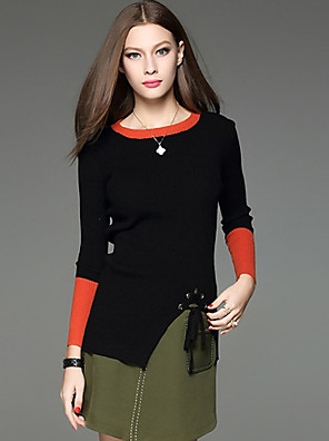 Dames Eenvoudig Rok Suits,Casual/Dagelijks Kleurenblok Ronde hals Lange mouw Zwart Katoen / Acryl