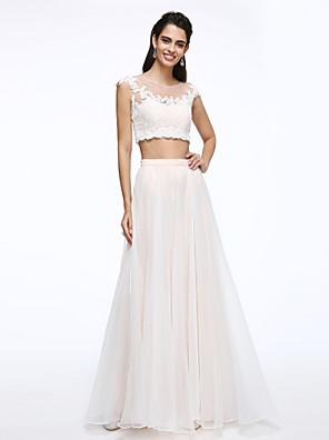 Lanting Bride® A-Linie Svatební šaty Dva díly Na zem Klenot Krajka / Organza s Aplikace