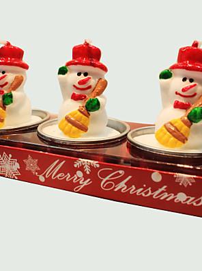 kerstkaars schattige kleine sneeuwpop vorm 3pcs