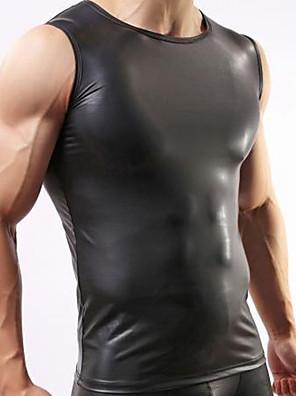 Masculino Camiseta Intima Masculino Couro Ecológico