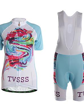 ספורטיבי חולצת ג'רסי ומכנס קצר ביב לרכיבה לנשים שרוול קצר אופנייםייבוש מהיר / לביש / חדירות גבוהה לאוויר (מעל 15,000 גרם) / דחיסה /