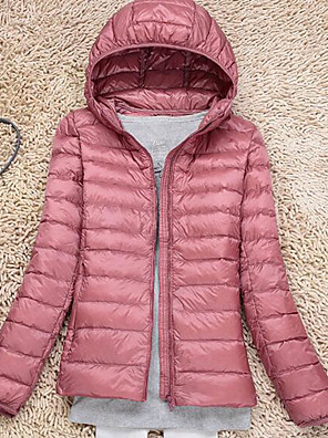 Women's Regular Down Coat,Street chic Casual/Daily Solid-Nylon White Duck Down Short Sleeve HoodedPink / Red / Black / Gray / Green /