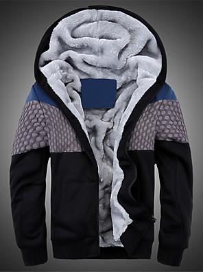 Herre Street Plusstørrelser Hattetrøje Patchwork Fleecefor Polyester / Uld Mikroelastisk Langærmet Efterår / Vinter