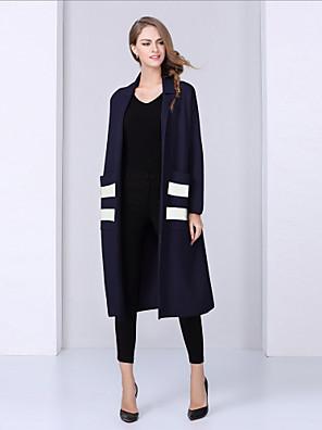 Casual/hétköznapi Egyszerű Őszi / Téli-Női Kabát,Színes V-alakú Hosszú ujj Kék / Piros Gyapjú Közepes vastagságú