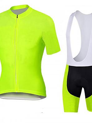 ספורטיבי חולצת ג'רסי ומכנס קצר ביב לרכיבה לגברים שרוול קצר אופניים נושם / ייבוש מהיר / עיצוב אנטומי / רוכסן קדמי / 3D לוח מדים בסטים