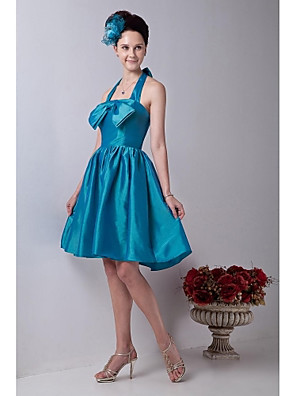 באורך  הברך טפטה שמלה לשושבינה  - גב יפהפייה גזרת A קולר עם פפיון(ים)