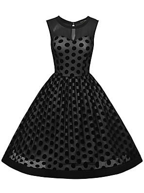 Women's Going out / Casual/Daily Simple / Cute / Street chic Sheath Dress,Polka Dot Round Neck Above Knee Short SleeveBlue / Black /