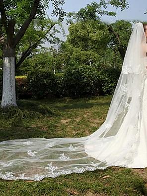 Véus de Noiva Duas Camadas Véu Catedral Borda com aplicação de Renda Tule / Renda