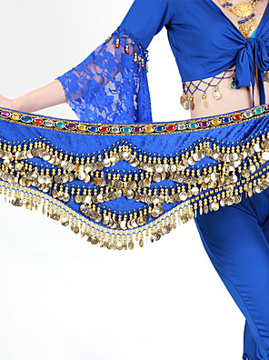 בגדי ריקוד נשים-צעיפי מותן לריקודי בטן-ריקוד בטןפוליאסטר,חרוזים / מטבעות זהב)