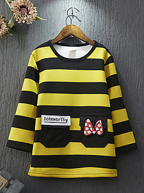 Girl's Casual/Daily Striped Hoodie & SweatshirtCotton / Rayon Winter / Spring / Fall Black / Yellow