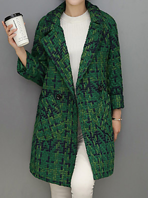 Women's Going out Street chic Coat,Houndstooth Notch Lapel Long Sleeve Fall / Winter Black / Green Wool / Polyester Medium