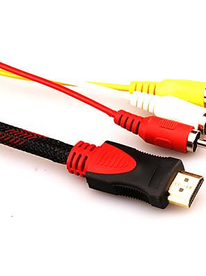 1.5m 1080p HDMI macho para adaptador de cabo de áudio vídeo av 3 rca para hdtv dvd