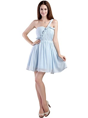 Krátký / Mini Šifón Šaty pro družičky - Elegantní A-Linie Jedno rameno s Sklady