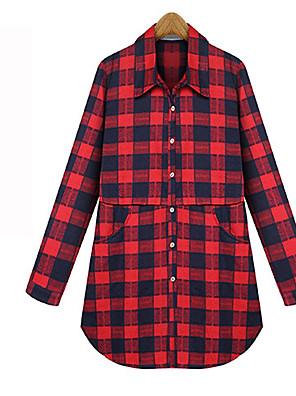 Langærmet Krave Medium Dame Blå / Rød Farveblok Alle årstider Vintage I-byen-tøj / Casual/hverdag Skjorte,Bomuld