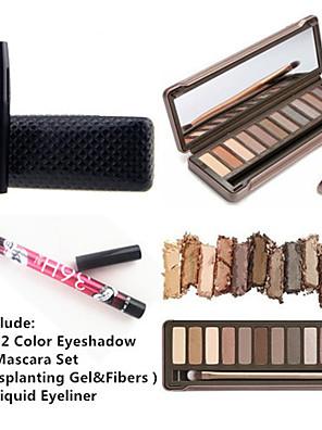 12 da sombra das cores dos olhos impermeável set lash mascara&2x delineador líquido à prova de água