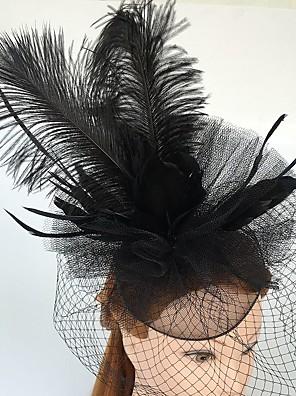 Mulheres Penas / Tule / Rede Capacete-Casamento / Ocasião Especial / Casual Fascinador / Véus de Rede 1 Peça