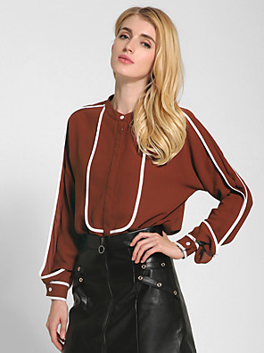 1287 Women's Going out / Casual/Daily Vintage All Seasons Shirt Color Block Round Neck Long Sleeve White / Black / Brown