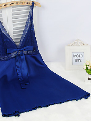 Feminino Super Sensual Roupa de Noite,Sexy Cor Única,Fino Viscose Roxo / Azul / verde / Laranja / Cinza / Preto / Branco Mulheres