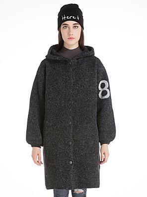Casual/hétköznapi Csinos Téli-Női Kabát,Szöveg Kapucni Hosszú ujj Szürke Gyapjú Közepes vastagságú