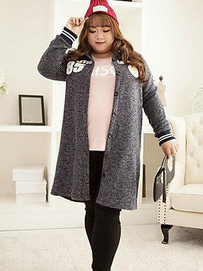 KELIXUAN Women's Casual/Daily Simple Long CardiganSolid Gray Shirt Collar Long Sleeve Polyester Winter Medium Inelastic
